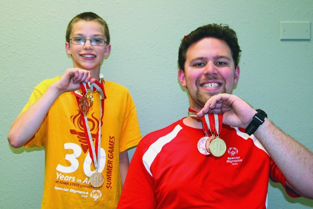 Trent McIntosh and Nate Blaine with their Special Olympics medals.